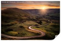 The Road From Edale Snakes its way up to Mam Tor., Print