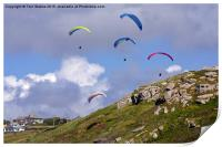 Paragliding Over Sennen Cove , Print