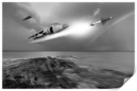 Sea Harriers in action, Print