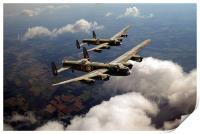 Birds of a feather: two Lancasters, Print