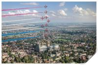 Red Arrows over Lincoln smoke on, Print