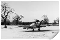 Spitfire in the snow black and white version, Print