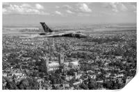Avro Vulcan passing Lincoln Cathedral black and wh, Print