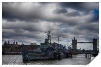 HMS Belfast with Tower bridge and The Tower of Lon, Print