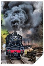 78019 Steam Train In Motion, Print