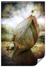 beached fishing boat, Print