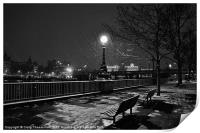 Black and white winter bench, Print