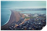 Chesil Beach from Portland Heights at Sunrise, Print