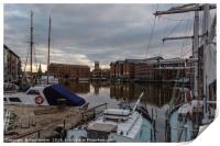 Gloucester Docks with Gloucester Cathedral, Print