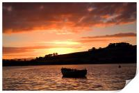 Sunset over the Teign , Print