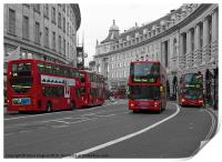 5 red London Buses isolated red colour, Print