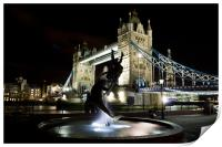 Girl and Dolphin Statue London, Print
