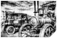 Traction Engine and Steam Lorry Vintage, Print