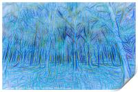 Blue Forest Abstract Art, Print