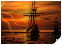 ghost ship in a storm, Print
