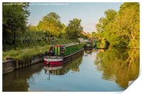 Canal boats on the River Lea Harlow , Print