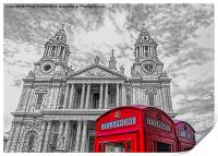 Red Phone Boxes with Monochrome St Paul's Cathedra, Print