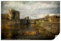 Inner Moat At Caerphilly Castle, Print
