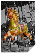 Carousel Horse on Black and White, Print