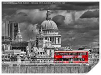 The Red Bus And Saint Pauls Cathederal london, Print