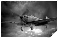 Guy Martin`s Spitfire on Finals Duxford 2015 2 BW, Print