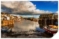 Low Tide, Mevagissey Harbour, Cornwall., Print