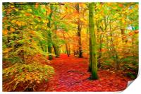 Autumn Woodland with swirly lines filter, Print