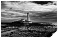St Mary's Lighthouse and Island in B&W, Print