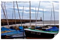 Tynemouth Pier and sailing boats, Print