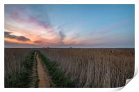 Lingering colours of sunset at Thornham, Print