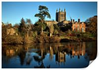 Hereford Cathedral and River Wye, Print