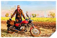 Glowing european with Indian motor cycle, Print