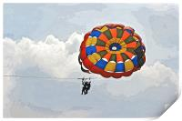Female para gliders with cloudscape, Print