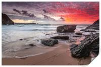 Lusty Glaze Cove at Sunset, Print