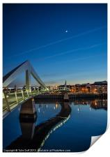 The Squiggly Bridge,Broomielaw,Glasgow at Dusk, Print