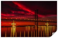 Fiery Sunset over Forth Road Bridge, Print