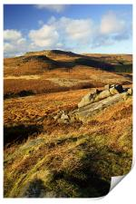 View from Burbage Rocks, Print
