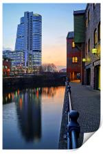 Bridgewater Place and River Aire in Leeds , Print