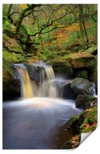 Cascading Waterfalls in Padley Gorge , Print