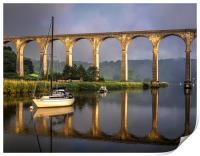 Calstock Viaduct and River Tamar Reflections, Print