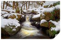 Snow in Padley Gorge , Print