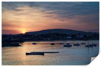 Sunset over Swanage and Purbeck Hills , Print