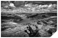 Ladybower & Derwent Valley in Mono                , Print