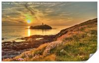 Godrevy Lighthouse Cornwall Sunset, Print